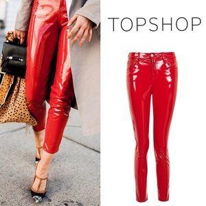 Topshop Jamie Moto Red Vinyl Jeans : HALLOWEEN